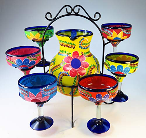 Mexican Margarita Glasses & Pitcher (Yellow) set with display rack, Hand Blown, Hand Painted, mixed colors w/various flowers,
