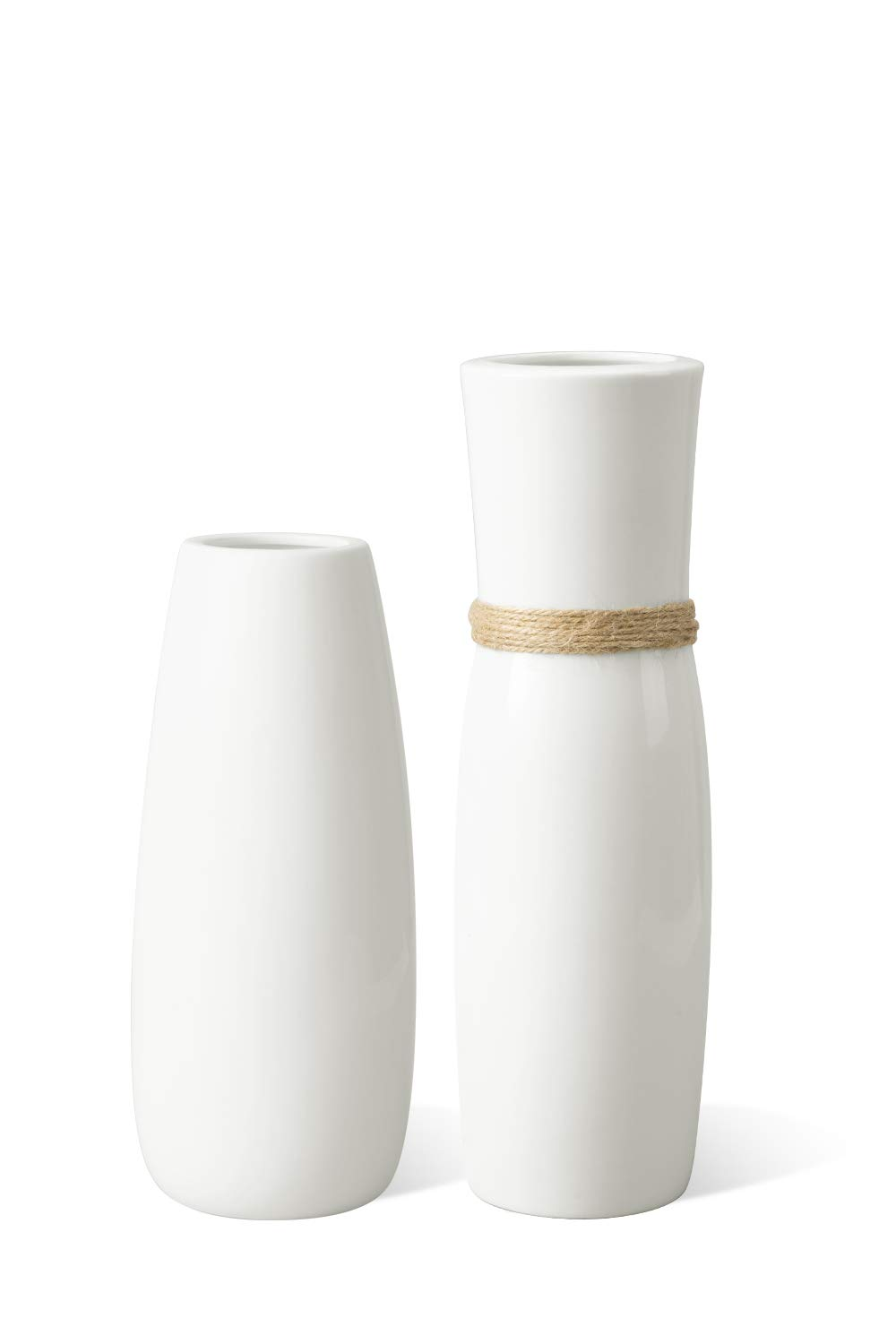 MoonLa White Ceramic Vases Flower Vase with differing Unique Rope Design for Home Décor – Set of 2