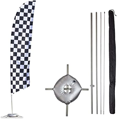 3 Swooper Flutter Feather Flags plus 3 Poles /& Ground Spikes CHECKERED Red Black