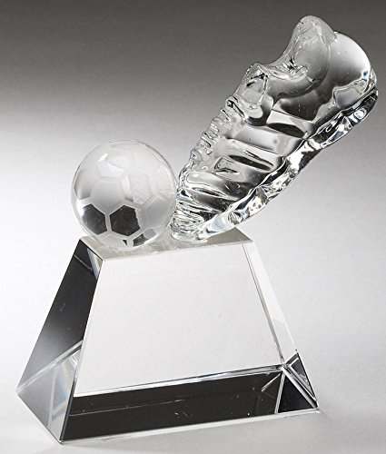 Soccer Shoe and Ball Optical Crystal Award, Size 4 x 4 Inch