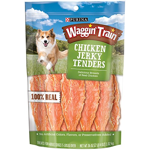 Waggin Train Chicken Jerky Tenders Dog Treats - Purina Waggin' Train Chicken Jerky Tenders Dog Treats, Larger Size 3 Pack ( 36 Oz Each )