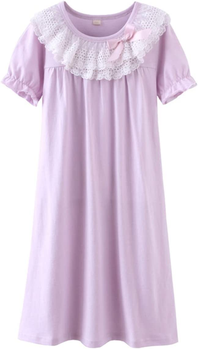 Girls Pajama Dress Baby Children Nightgown Sleep Wear Cotton Princess Nightgown Kids Girl Short Sleeve Sleepwear,As Photo1,8T