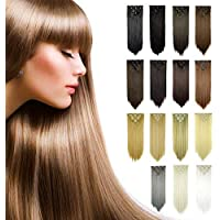 FESHFEN 24 Inch 7 Pcs 16 Clips Straight Hair Extensions Long Synthetic Clip in Hair Extension Full Head Hair Pieces for Women 4.6oz/130g