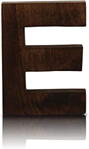 "8"" Decorative Solid Block Wooden Letters Alphabets Words Natural Finished Wood Freestanding Shelf or Tableware Childrens Baby Names Initials For Bedroom Wedding Birthday Party Home Decor (Letter E)"