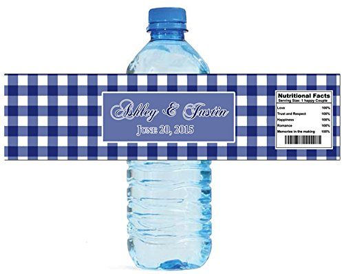 100 Blue Gingham Wedding Anniversary Engagement Party Water Bottle Labels 8