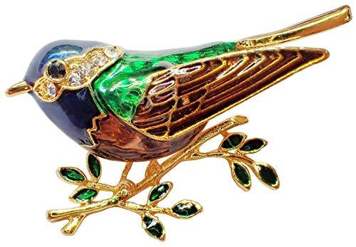 Bijoux De Ja Jewel Enamel Rhinestone Crystal Bird Wing Brooch Pin for Women (Robin Bird)