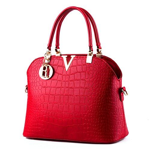 Luxury crocodile handbags bag leather Pahajim Women Shoulder Red pattern handbags Wine B7wxETF