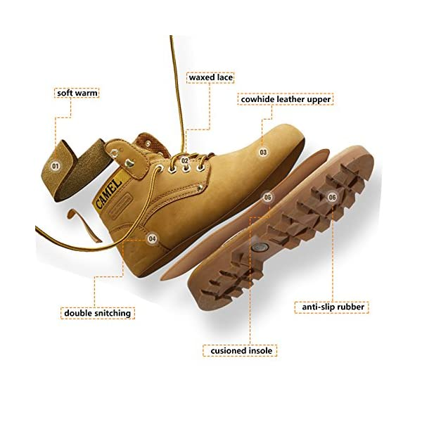 CAMEL Men's Leather Insulated Work Boots Water Resistant Non-Slip Industrial Construction Boots Round Toe Safety Shoes 2