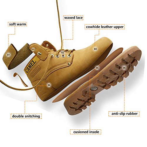 Camel Men's Leather Insulated Work Boots Water Resistant Non-Slip Industrial Construction Boots Round Toe Safety Shoes