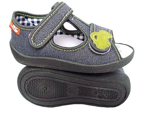 Renbut Jungen Kinder Hausschuhe Sandalen Erste Schuhe Stoffschuhe Textilschuhe Klettverschluss Innensohle Leder Kindergarten Schuhe Grau Grün Grau