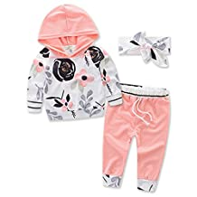 Flower Printed Long Sleeve Hooded Tops+Pink Pants+Headband 3pcs Outfit For Baby Girls