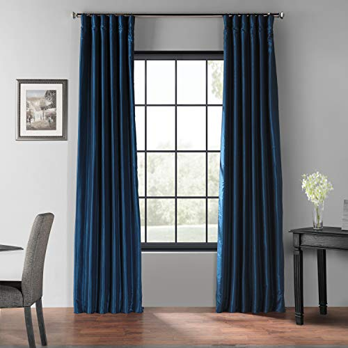 HPD Half Price Drapes PDCH-KBS70BO-96 Blackout Vintage Textured Faux Dupioni Silk Curtain, 50 X 96, Captain's Blue ()
