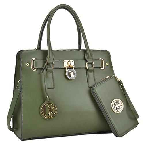 Women's Fashion Handbag Top Belted Padlock Satchel Bag Top Handle Shoulder Bag Purses w/Matching Wallet