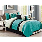 7-Pc Snowflake Diamond Trellis Embroidery Pleated Comforter Set Turquoise Black Beige Queen