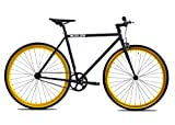 Golden Cycles Fixed Gear Bike Steel Frame Fixie with Deep V Rims-Collection (Vader Gold, 48)