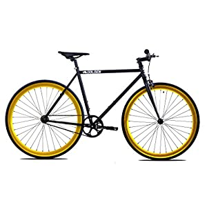 Golden Cycles Fixed Gear Bike Steel Frame Fixie with Deep V Rims Collection (Vader Gold, 48)