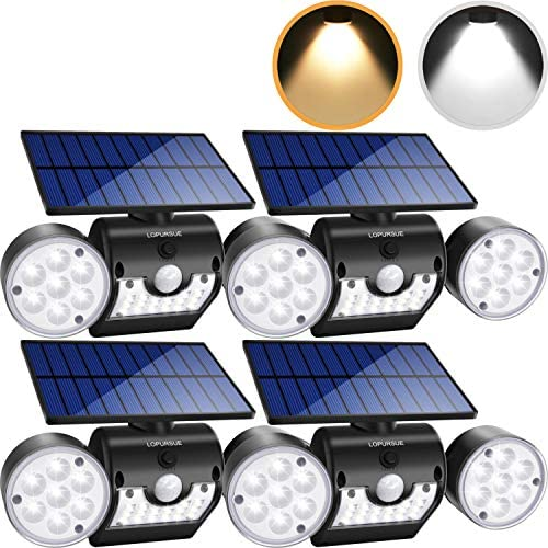LOPURSUE Solar Lights Outdoor,Dual Colour LED Solar Flood Lights with Motion Sensor Dual Head Spotlights IP65 Waterproof 360 Adjustable for Yards Gardens and Garages 4packs