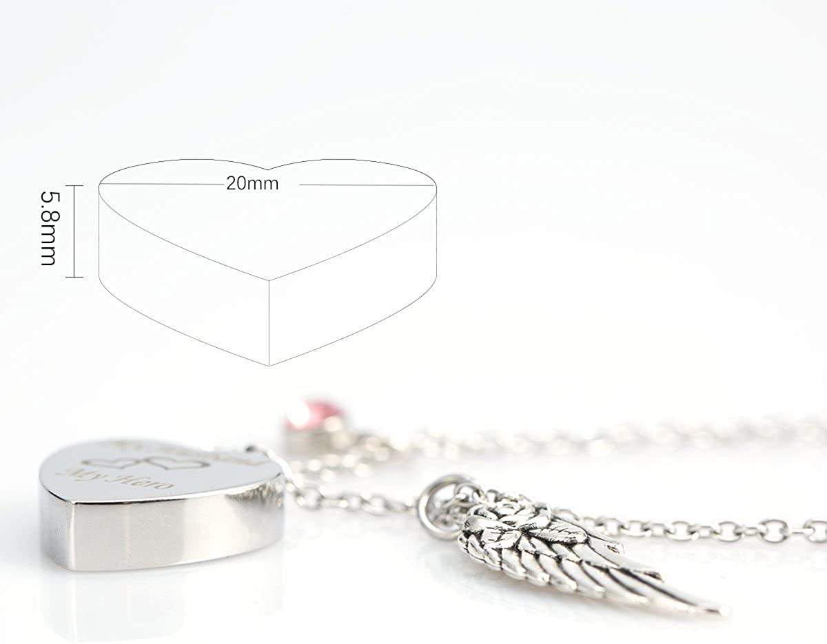 Cremation Urn Jewellery My Niece My Angel Angel Wings 26 Alphabet Charms Memorial Ash Keepsake Heart Necklace
