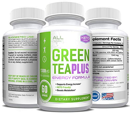 Keto Driven Green Tea Extract with EGCG - Weight Loss Support - Healthy Heart, Metabolism, Energy Formula - Natural Fat Burner - 60 Capsules (Best Green Tea For Fat Loss)