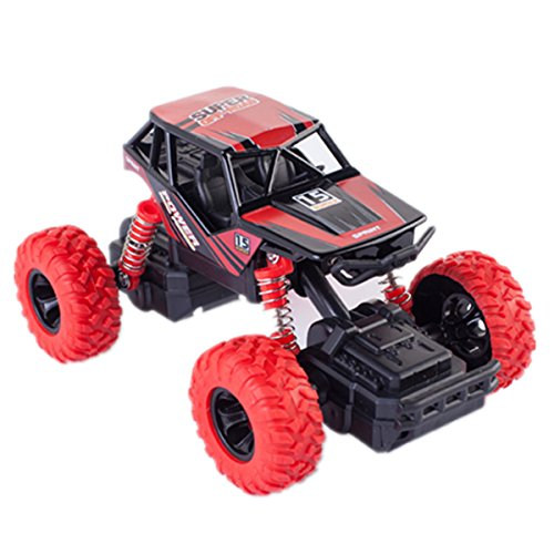 Meyall Pull Back Cars Monster Truck Toys, High Speed Long Distance 4 Wheel Drive Friction Powered Off-Road Rock Crawler Car Toy Big Wheels Car Models for Toddler Boys Girls Baby (1 Piece, Red) (Classic Mini Best Shock Absorbers)