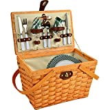 Picnic at Ascot 716H-GP Frisco Traditional American Style Picnic Basket with Service for 2, Green Plaid