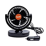 Willcome 24V DC 360 Rotating Strong Wind Car Cooling Fan - 2M Cord Low Noise Portable Auto Vehicle Fan for Truck Bus (Orange)