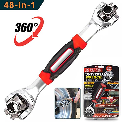 DKPO 48-in-1 Multifunctional Socket Wrench,Multi-angle Wrench with 6 Corners, 360-Degree Rotating Head,Rubber Handle by DKPO
