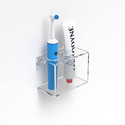 Montado en la pared claro eléctrico cepillo de dientes y pasta de dientes soporte, acrílico