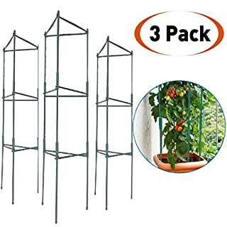 EasyGo Tomato Cages – Stakes - Vegetable Trellis - 3 Pack Tomato Plant Cages