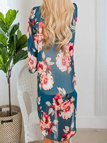 Chiffon Cardigan, Flower Print Open Front Shawl Kimono Coat Jackets Cover up Blouse Tops(Green,S) by yijiamaoyiyouxia Blouse (Image #4)