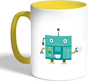Printed Coffee Mug, Yellow Color, Coffee maker