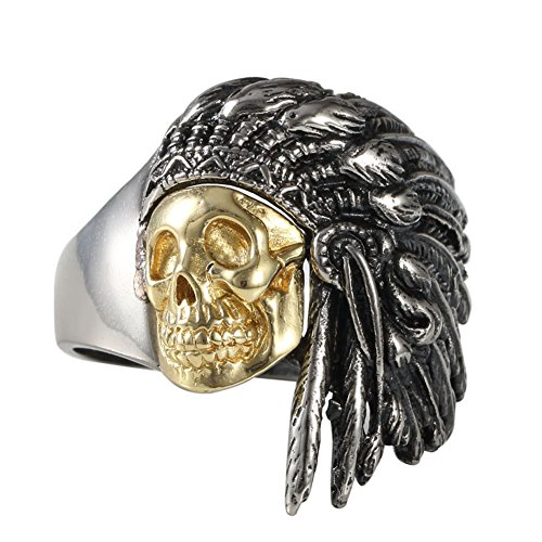 New Stainless Steel Gold Plated Skull Feather Indian Chief Style Ring