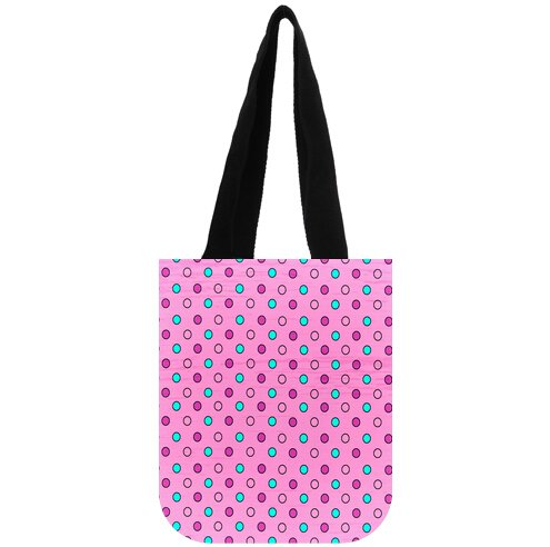 (Polka Dot Pattern Cotton Canvas Reusable Market Grocery Tote Bag Two Sides)