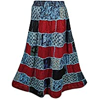Mogul Interior Womens Patchwork Skirt Vintage Inspired Summer Spring Peasant Long Skirts S/M