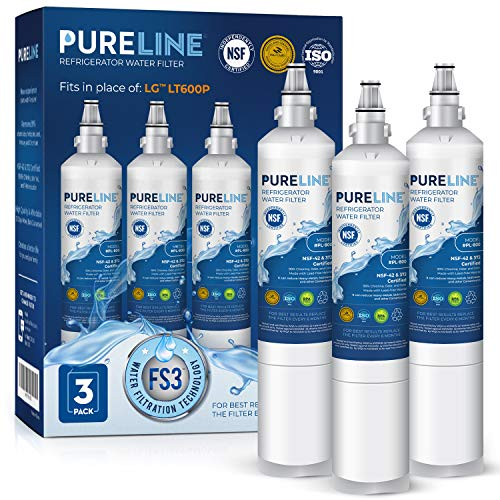 Pureline 5231JA2006A Water Filter Replacement for LG LT600P, KENMORE 46-9990, 5231JA2006B, KENMORECLEAR 46-9990, WFC2001, LSC27931ST, LFX25960ST, FML-2,RWF1000A (3 Pack)