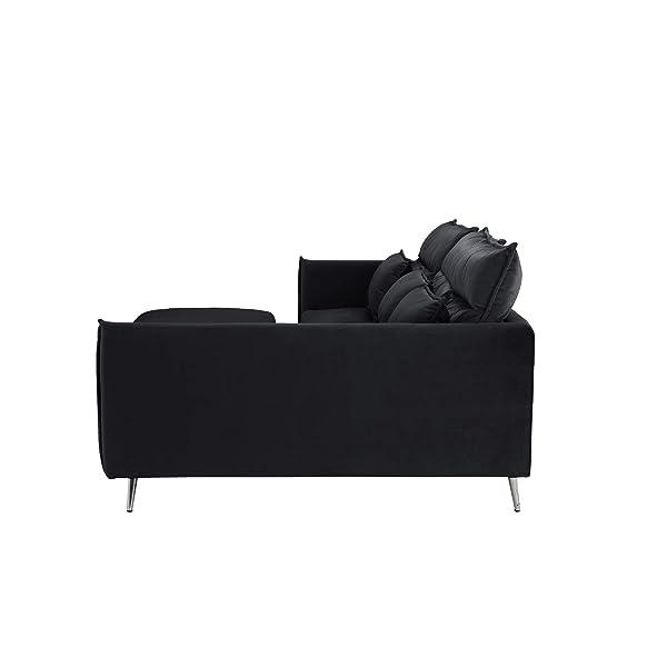 "Upholstered 88.1"" inch Velvet Sectional Sofa, L-Shape Couch with Rectangular Ottoman (Black)"