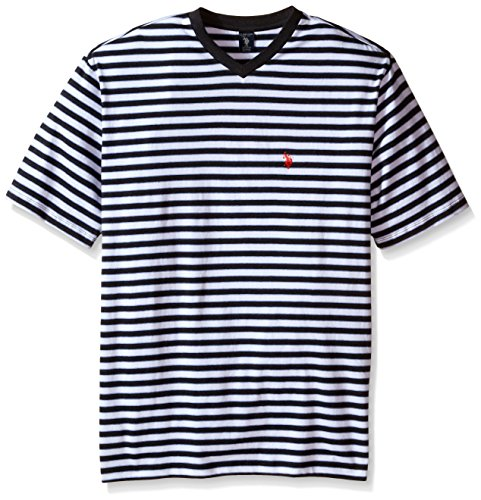 [U.S. Polo Assn. Men's Big-Tall Candy Striped V-Neck T-Shirt, Black Heather, 2X-Large/Tall] (Pugsley Addams Costume)