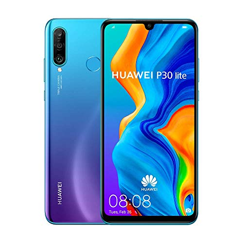 "Huawei P30 Lite (128GB, 4GB RAM) 6.15"" Display, AI Triple Camera, Dual SIM Global GSM Factory Unlocked MAR-LX3A - International Version (Peacock Blue) (Renewed)"