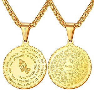 Best Epic Trends 51kASPEbuVL._SS300_ U7 Bible Verse Prayer Necklace for Men Women 18K Gold Plated Stainless Steel Christian Jewelry Praying Hands Coin Medal…