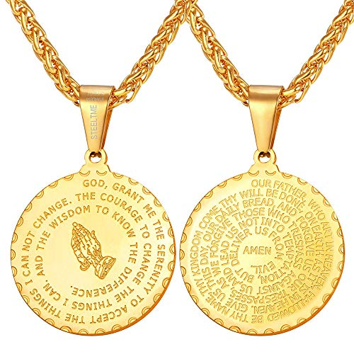 U7 Men Women 18K Gold Plated Coin Medal Bible Verse Necklace with Rope Chain 24 Inch Serenity Praying Hands Christian Jewelry Gift