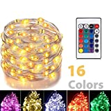 PINSAN led String Lights Battery Powered Multi Color Changing String Lights with Remote Control Waterproof Decorative Silver Wire Lights 16ft 50LEDs for Bedroom,Patio,Indoor,Party,Garden, Party(RGB)