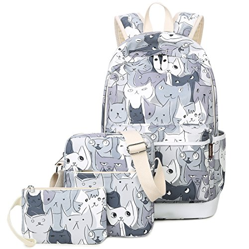 3 Pieces Cute Animal School Backpack Set 14inch Laptop Bookbags For Girls