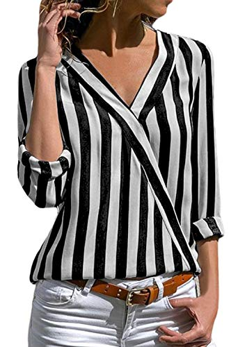 (Ladies Roll Up Half Sleeve Striped V Neck Shirts Wrap Front Tops Loose Fit Chiffon Stylish Blouses)
