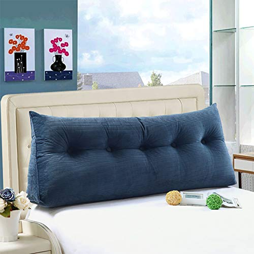WOWMAX Large Bolster Triangular Wedge and Body Positioners Support Reading Backrest Pillow for Mother's Day Headboard for Day Bed Bunk Bed with Removable Cover Denim Blue Twin
