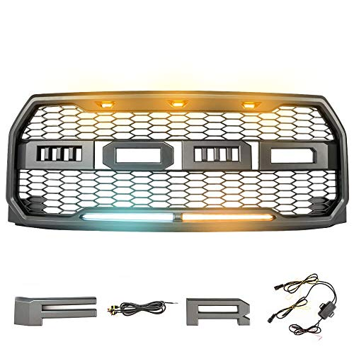 MICTUNING Raptor Style Grill Kit with Lights For 2015 2016 2017 Ford F-150 Front Bumper Conversion ABS Upper Replacement Grille with Letters F and R