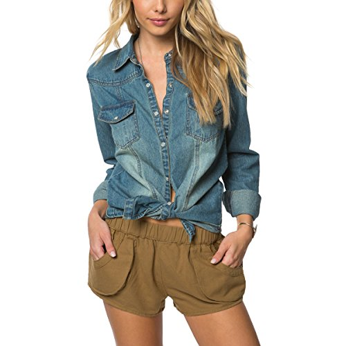 O'Neill Women's July Embroidered Denim Shirt, Chambray/In...