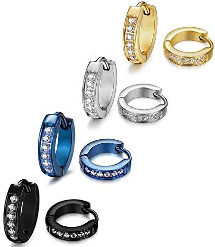ORAZIO 4 Pairs Hoop Earrings Stainless Steel Huggie Earrings For Men Women Cubic Zirconia Inlaid