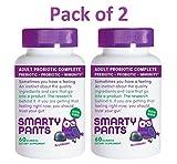 SmartyPants Probiotic + Prebiotic Immunity Gummies for Adults: 7 billion CFU + Wellmune Prebiotic, VEGETARIAN, NON-GMO, GLUTEN-FREE, ALLERGEN-FREE; Blueberry Flavor; 30 Day Supply (Pack of 2)