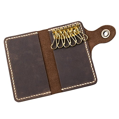 Ancicraft Leather Key Holder Case Handmade Card Bag Wallet Key Chain by Handcrafted Gift (Dark brown & single snaps) from Ancicraft