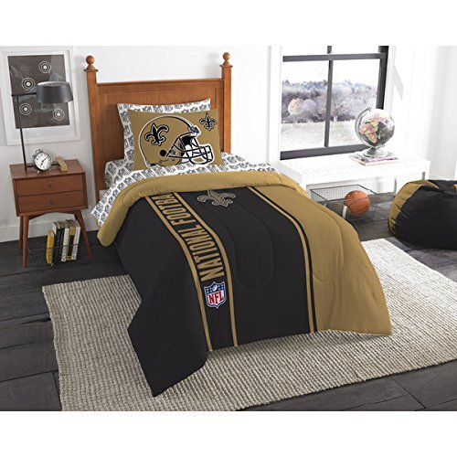 - New Orleans Saints Bed in a Bag Set Bedding Shams NFL 5 Piece Twin Size 1 Comforter 1 Sham 1 Flat Sheet 1 Fitted Sheet and 1 Pillowcase Football Linen Bedroom Decor Imported